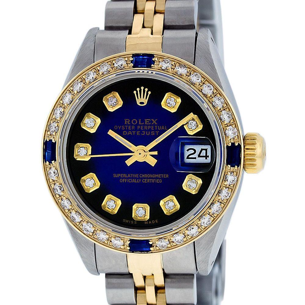Ladies rolex ssteel and k yellow gold blue vignette diamond