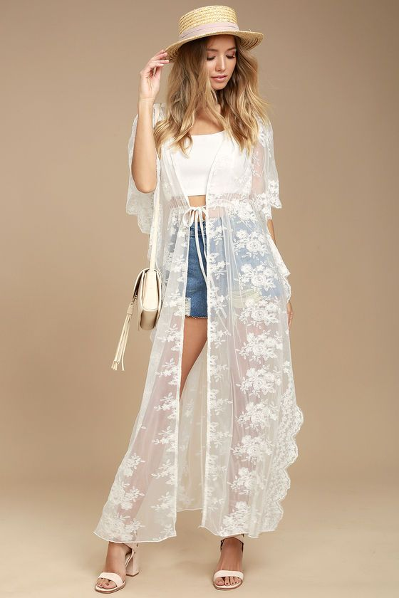 800a20d07da Dream a little dream of romance with the Sweet Honey White Lace Kimono Top!  Gorgeous white lace forms this open front kimono with kaftan sleeves, ...