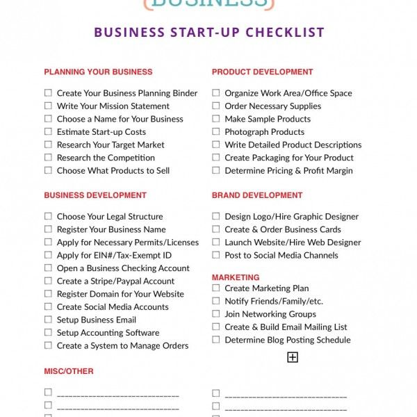 Free Printable Business Startup Checklist  Books Worth Reading