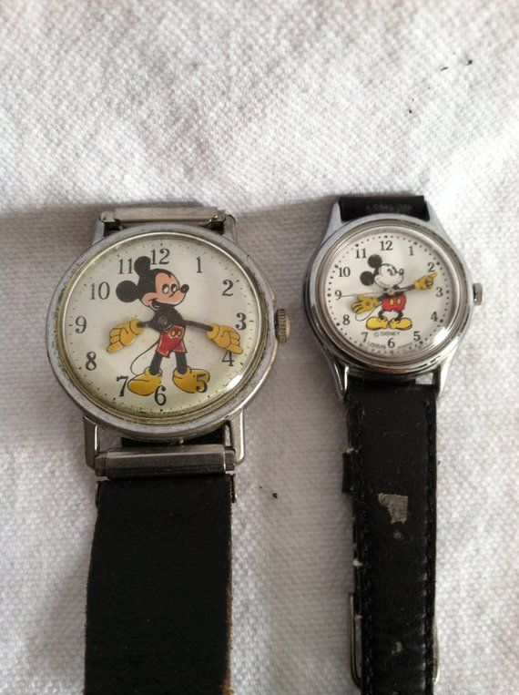 Mickey Mouse Watch Value >> Vintage Mickey Mouse Watches With Original Black Leather Bands In