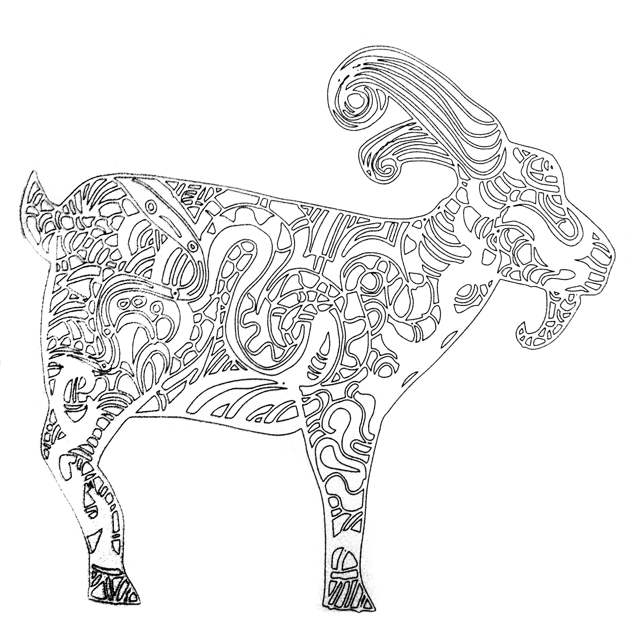 Colors Of Nature Adult Colouring Book Goat Coloring Pages