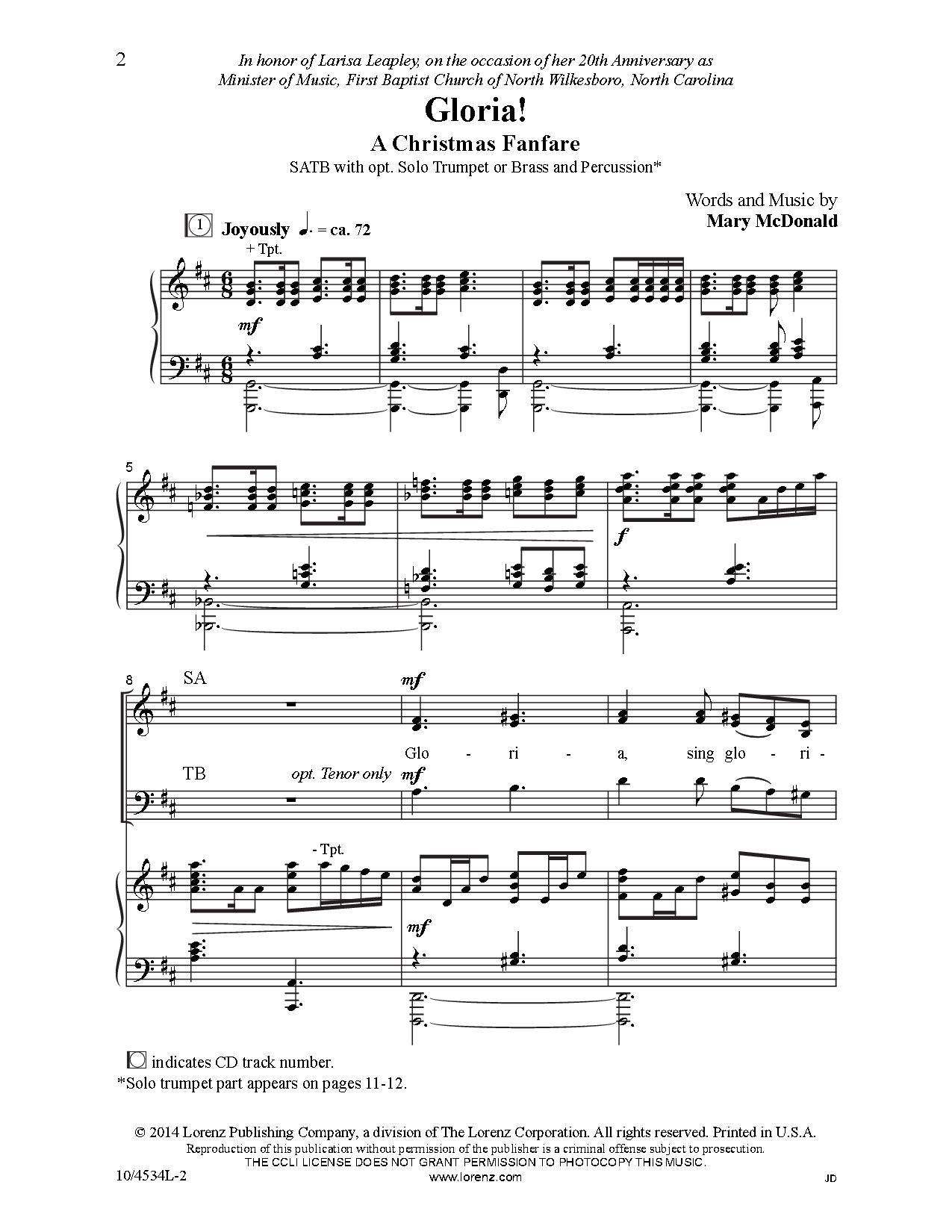 Gloria! (SATB ) by Mary McDonald| J.W. Pepper Sheet Music | MUSIC ...