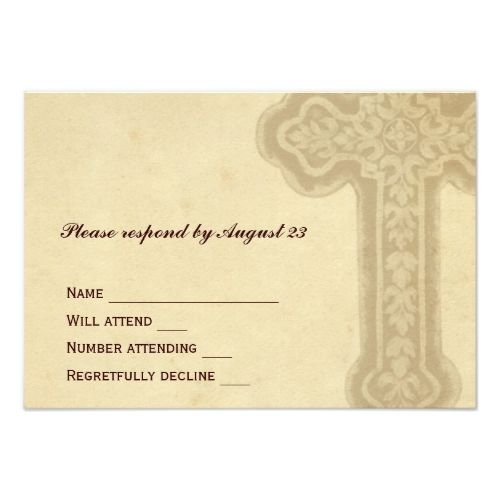 Tree Of Life Invitation Rsvp Celtic Life By: Christian Wedding RSVP Cards Antique Brown Celtic Cross
