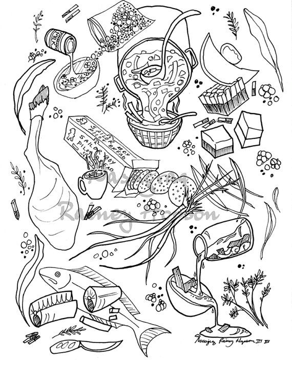 Alaska Native Inupiaq Eskimo Hand Drawn Coloring Page Featuring And Modern Foods Perfect