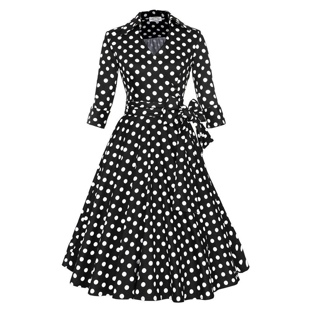 Woman hepburn style aline dress skirt dot big peplum black dot