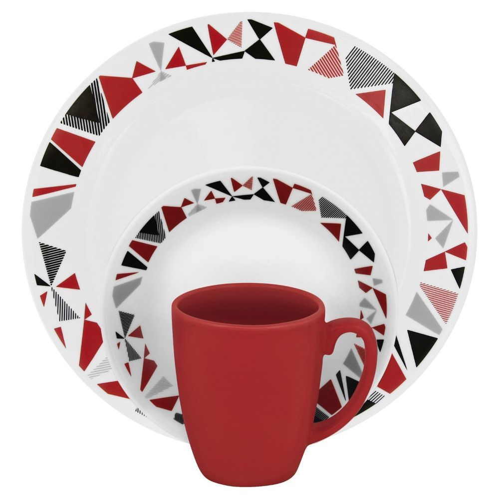 Corelle Livingware 16piece Dinnerware Set Mosaic Red Service for 4  sc 1 st  Pinterest & Dinnerware Set Corelle Livingware 16 piece Service for 4 Mosaic Red ...