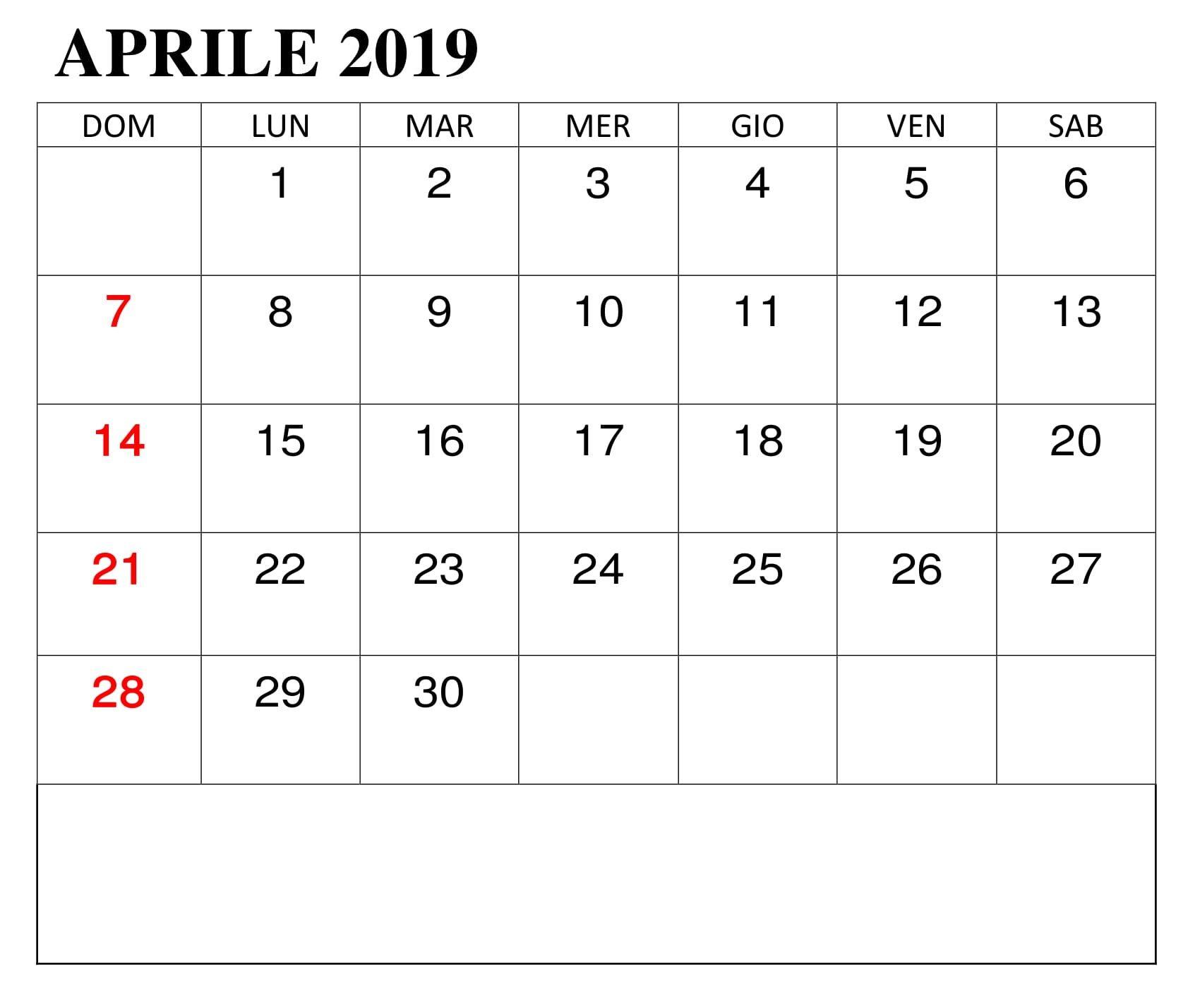 Modello Calendario Word.Calendario Mese Aprile Modello 2019 Calendario Aprile 2019