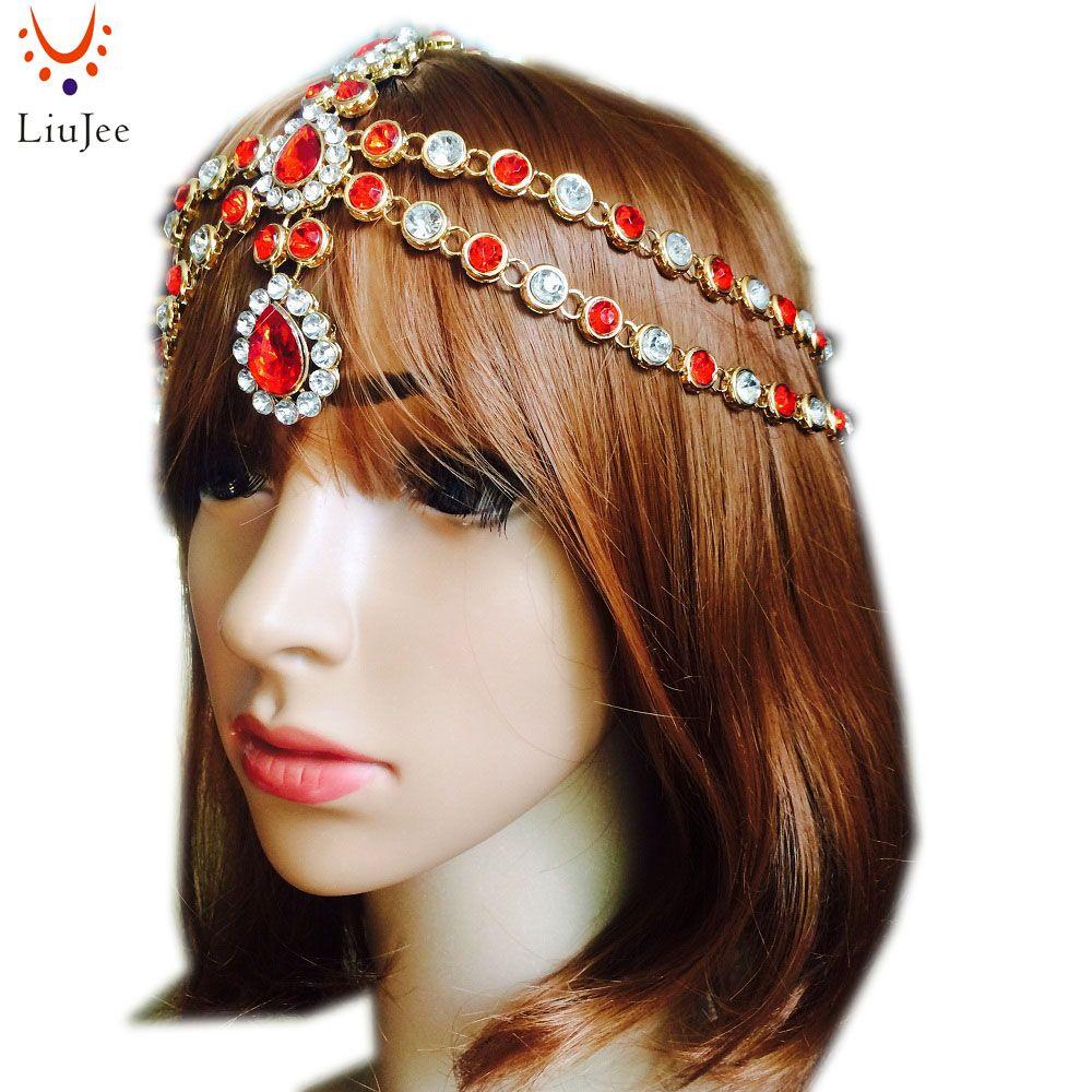 Red with crystal diamante head band hair jewelry wedding bridal head