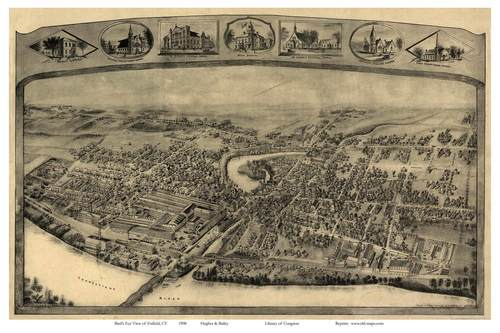 Enfield, Connecticut 1908 Bird's Eye View Old Map