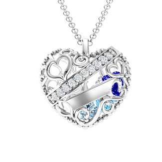 Engravable heart pendant with birth stones