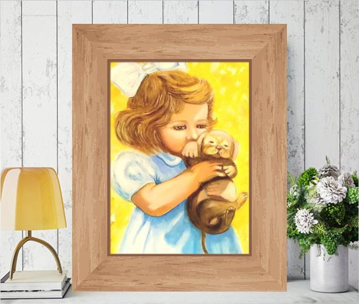 Beloved Puppy,Girl & Puppy,Dog Portrait, Oil Painting on Canvas ,For ...
