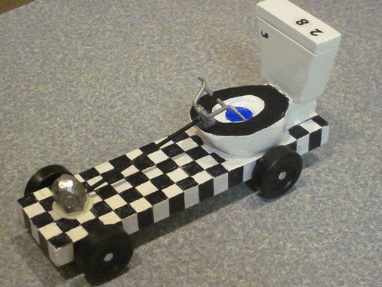 Pinewood Derby car ~ Toilet Car with steering wheel | Pinewood Derby ...