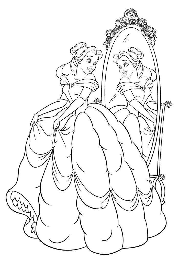 Vestido De La Princesa Bella Paginas Para Colorear Disney
