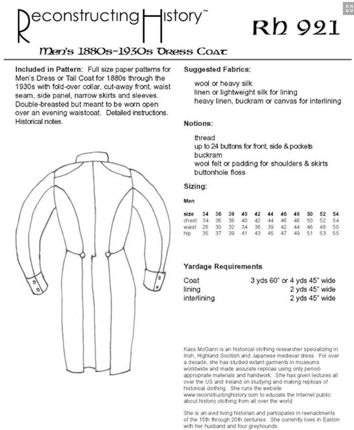 Reconstructing History Pattern #RH921 - Men\'s Dress Coat or Tail ...