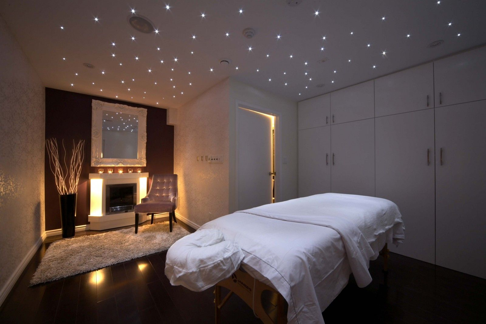 Pearl spa massage room interior design toronto for Salon western