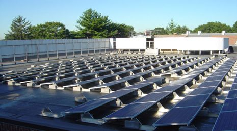 Solar panels were placed on the roof of Swirbul Library to provide maximum exposure to solar energy while remaining conscious of the aesthetic requirements of the Village of Garden City.