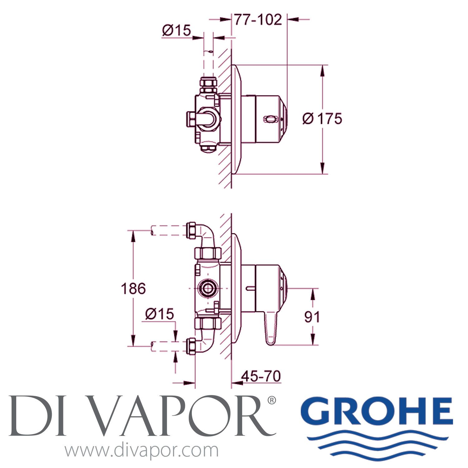 Grohe 34041il0 Avensys 1 2 Concealed Single Control Shower Mixer