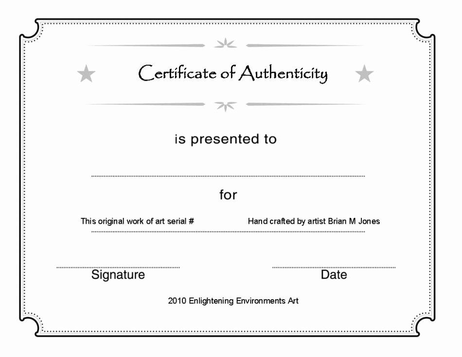 Certificate Of Authenticity Template For Art Inspirational Blank Certificate Authenticity D Blank Certificate Template Art Certificate Printable Certificates