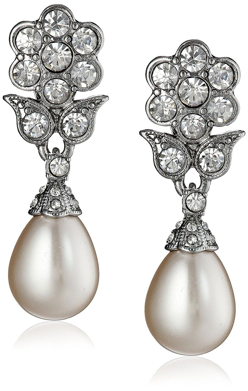 Simulated Pearl Crystal Floral Teardrop Dangle ClipOn