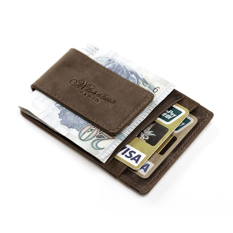 Teemzone Men Genuine Crazy Horse Leather Wallet Business Casual Credit Card Id Holder With Strong Magnet Money Clip