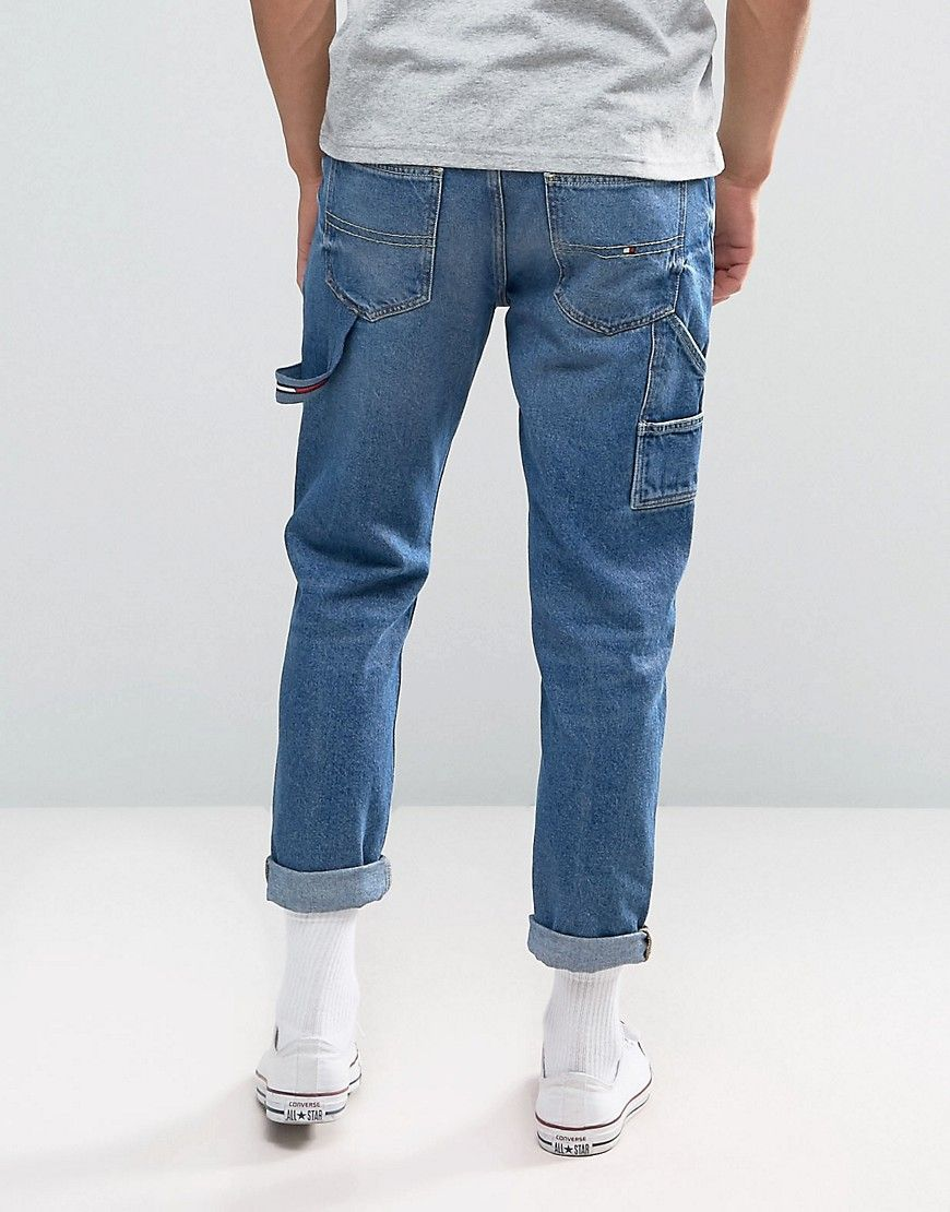 d917732c Tommy Jeans 90S Carpenter Jeans M18 Tapered Fit in Dark Wash - Blue ...