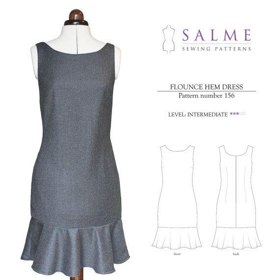 PDF Sewing pattern Flounce Hem Dress por Salmepatterns en Etsy ...