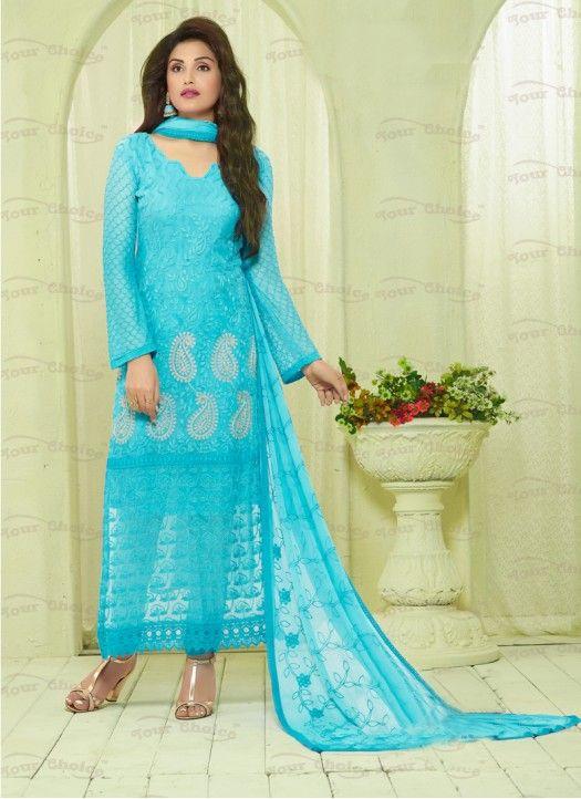 172e5ddc86 New Aqua Nazneen Chiffon Designer #Dress_Material#beautiful #new_arrival  #Latest