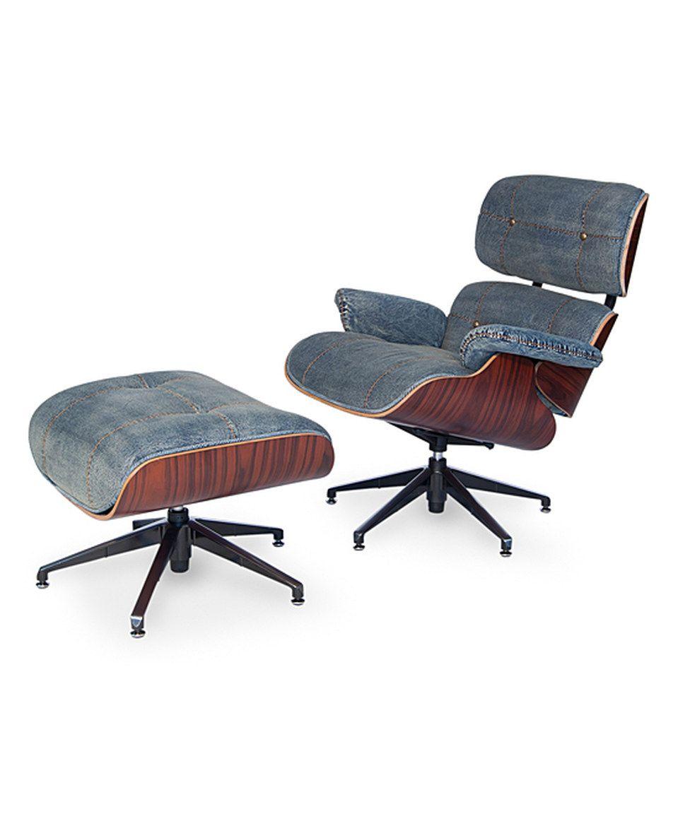 This Light Blue Denim Eames Chair U0026 Ottoman Set By Sarreid Ltd. Is Perfect!  #zulilyfinds