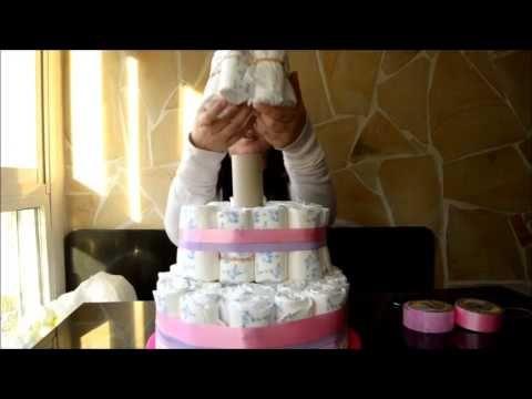 tutorial tarta de pañales - YouTube