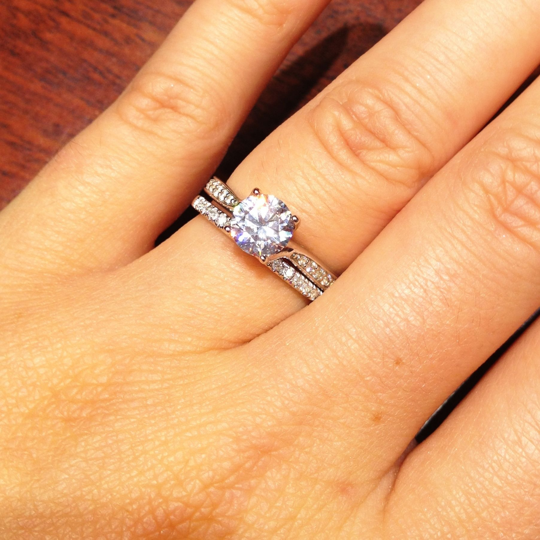 1 carat round solitaire engagement ring wedding band - Engagement Rings With Wedding Band