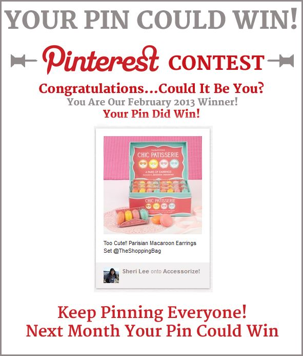 Congratulations Sheri Lee  Your Lucky Pin Won  Gift