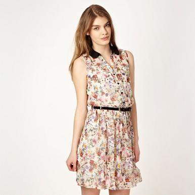 Hemdkleid aus Chiffon im Blumen-Look, cremeweiß