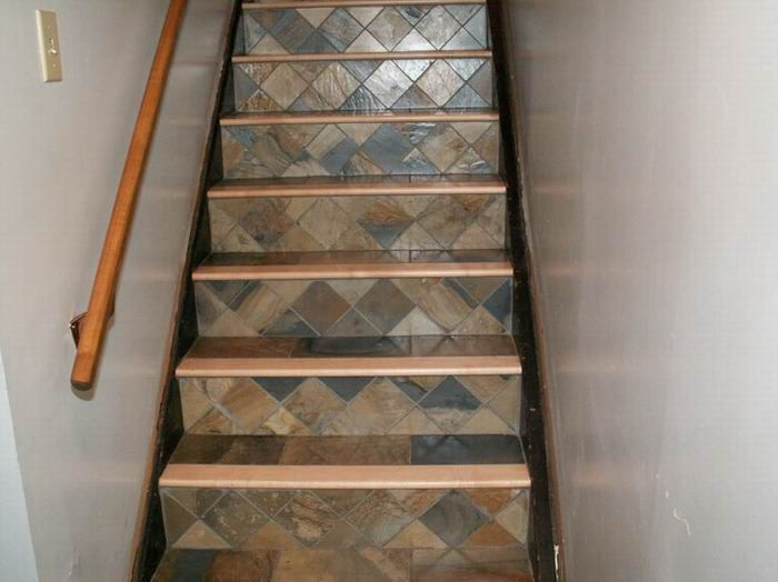 Tile stairs with wood bullnose