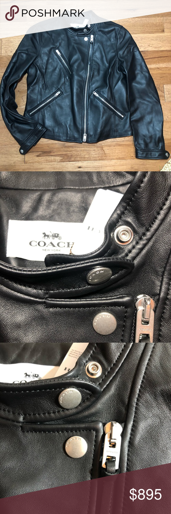 Coach Uptown Racer Leather Moto Jacket Leather moto
