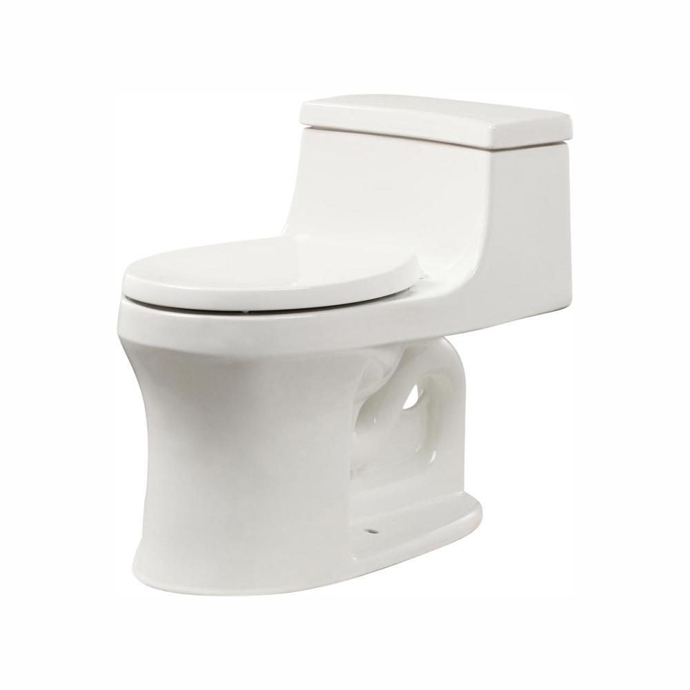 Kohler San Souci 1 Piece 1 28 Gpf Single Flush Round Toilet In White K 4007 0 The Home Depot Home Depot Toilets Modern Toilet One Piece Toilets