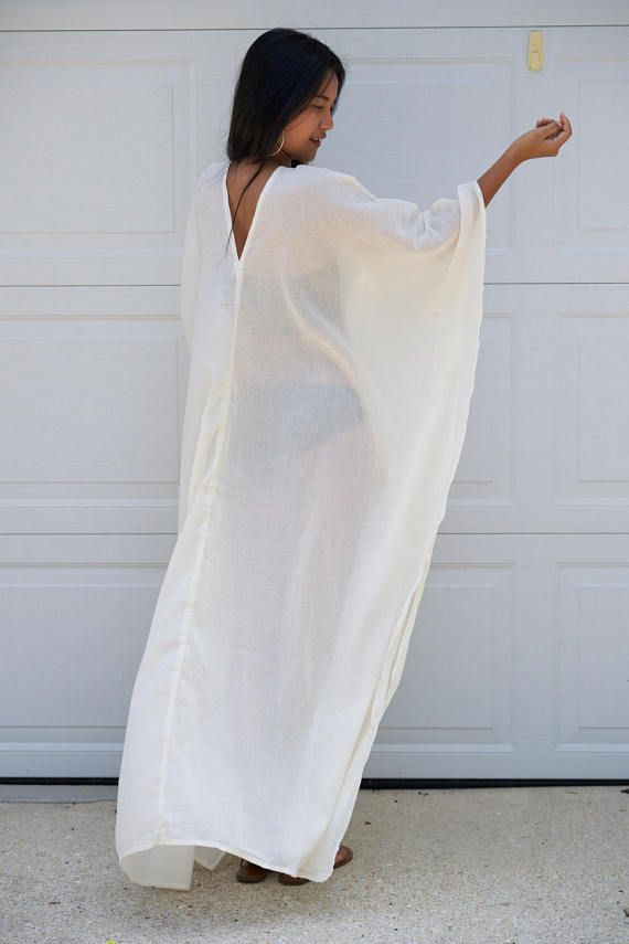 96b496bdf6 White Caftan Long Kaftan cotton GauzeLong Beach dress Beach Pool Party  Dresses, Desert Clothing,