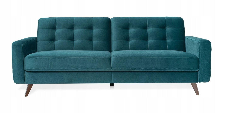 Sofa Rozkładana Kanapa Pikowana Zielona Nappa Mieszkanie W