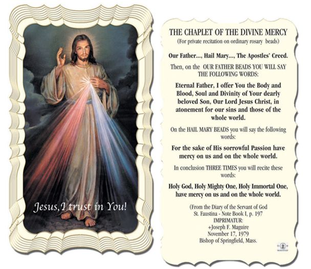 50-Pack - Chaplet Of The Divine Mercy Holycard