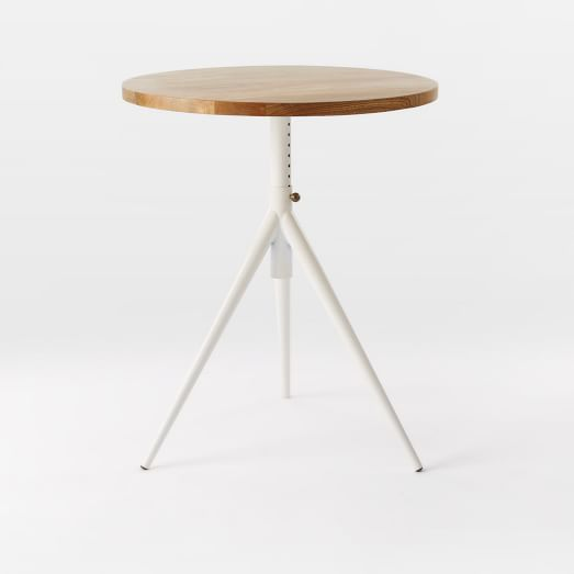Round Adjustable Bistro Table, Natural Mango/White