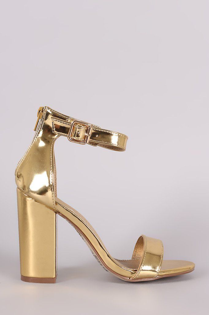 Mirror Patent Open Toe Ankle Strap Chunky Heel – Style Lavish ...