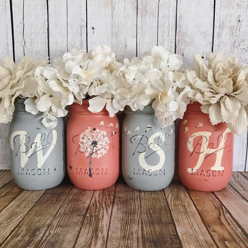 WISH Mason Jars, Dandelion wishes, Set of 4 pint size Mason jars, Shabby Chic decor, Rustic Home decor, Farmhouse, Housewarming gift