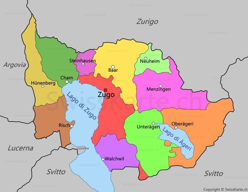 Mappa Di Canton Zugo Canton Mappe Zugo