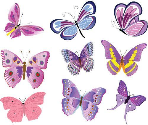 Stickers papillons rose et violet stickers animaux de la for t papillons imprimer - Image de papillon a imprimer ...