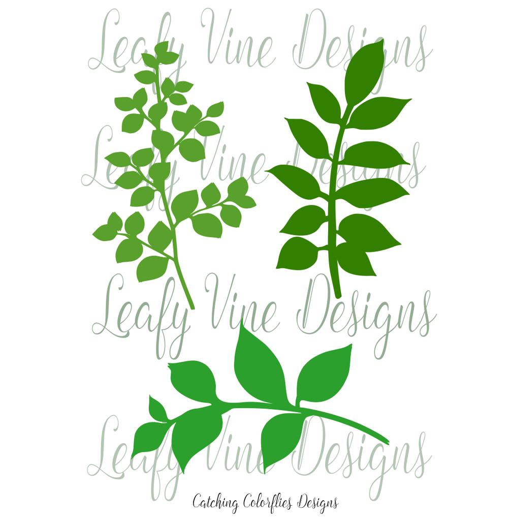leafy vine set leaf svg template cricut pinterest template