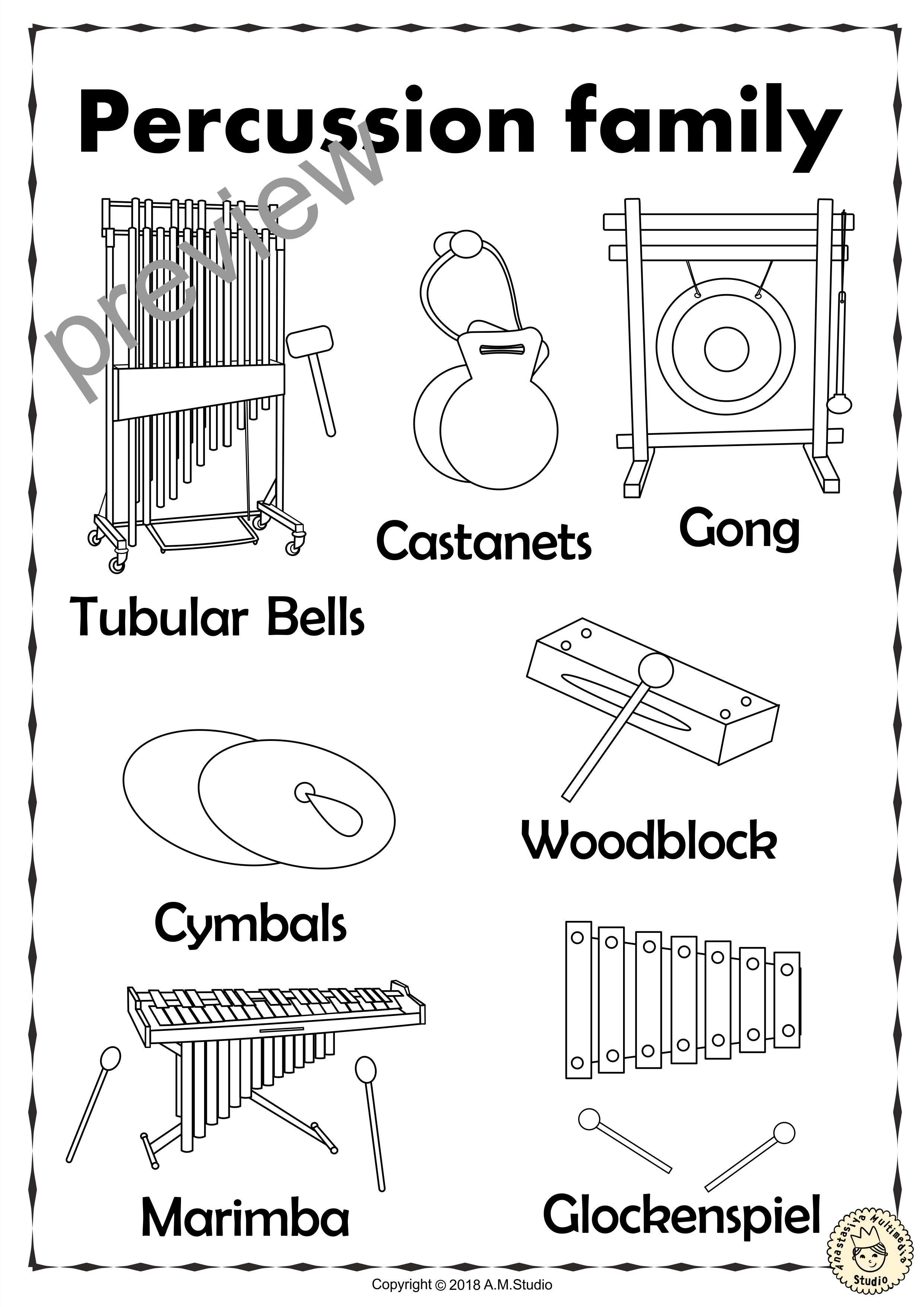 Percussion Instruments Line Puzzles Anastasiya