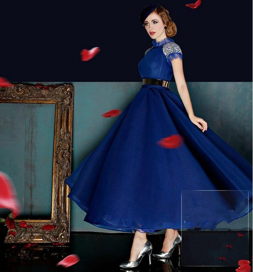Royal Blue Red 2016 Elegante Cocktailkleider Schärpen Vestidos De ...