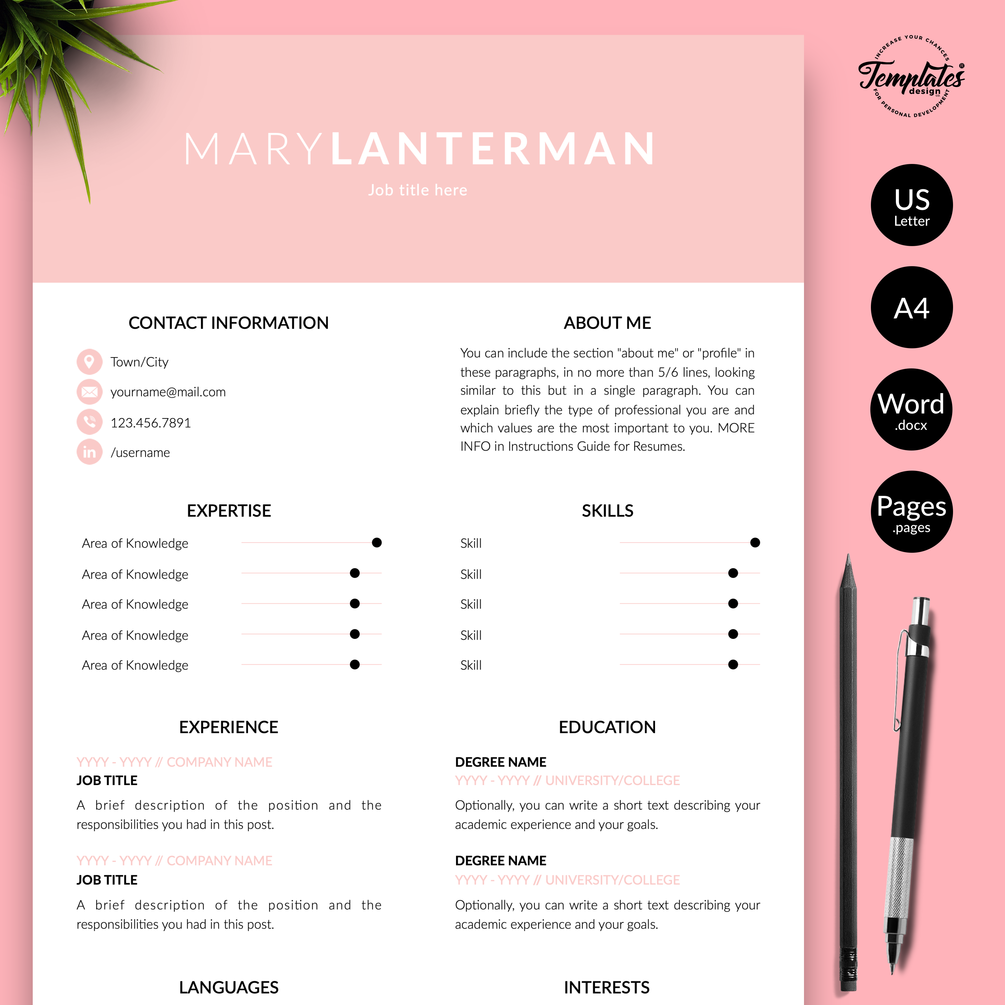 """Mary Lanterman"" Creative Resume CV Template for Word"