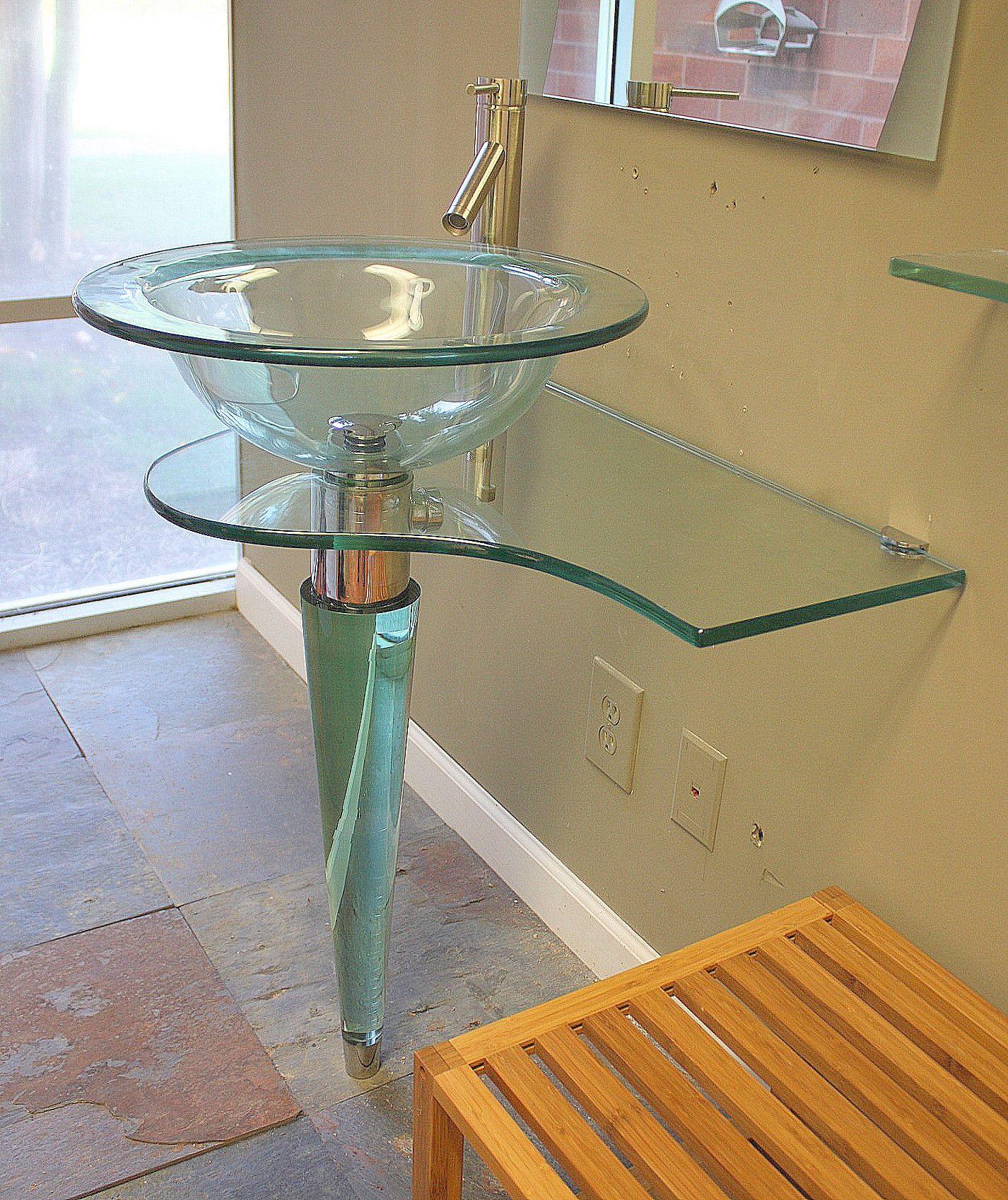 31 5 In Wide All Glass Contemporary Modern Bathroom Glass Vessel