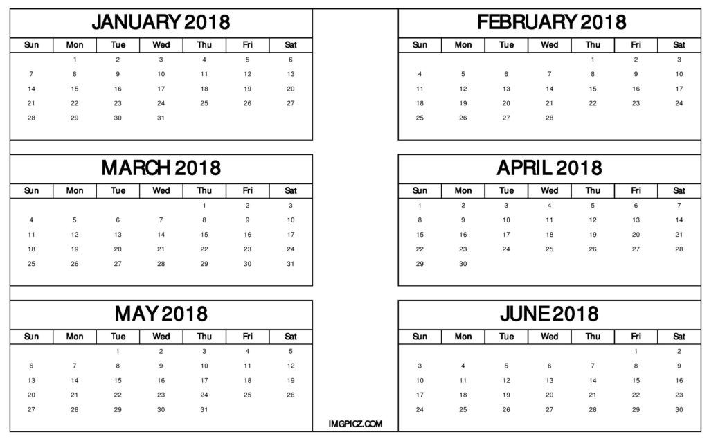 january to june 2018 calendar six months printable template free