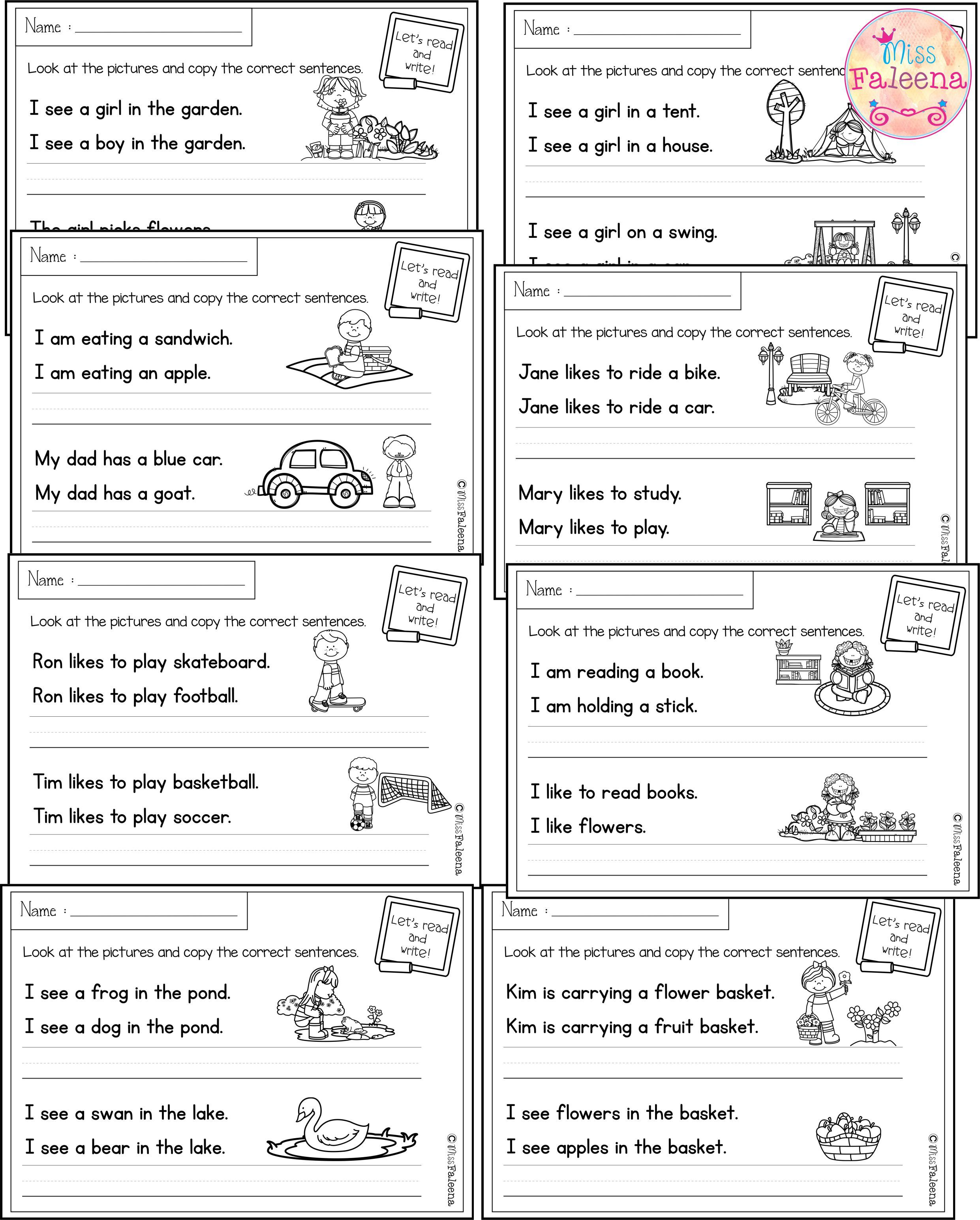 There are 20 pages of sentence writing worksheets in this product. These  pages are great for pre-K [ 3088 x 2482 Pixel ]